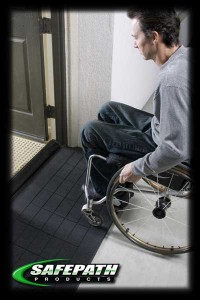 Ez Edge Rubber wheelchair ramps for ADA compliance Safepath products. EZEdge Threshold Ramps EZ Access.