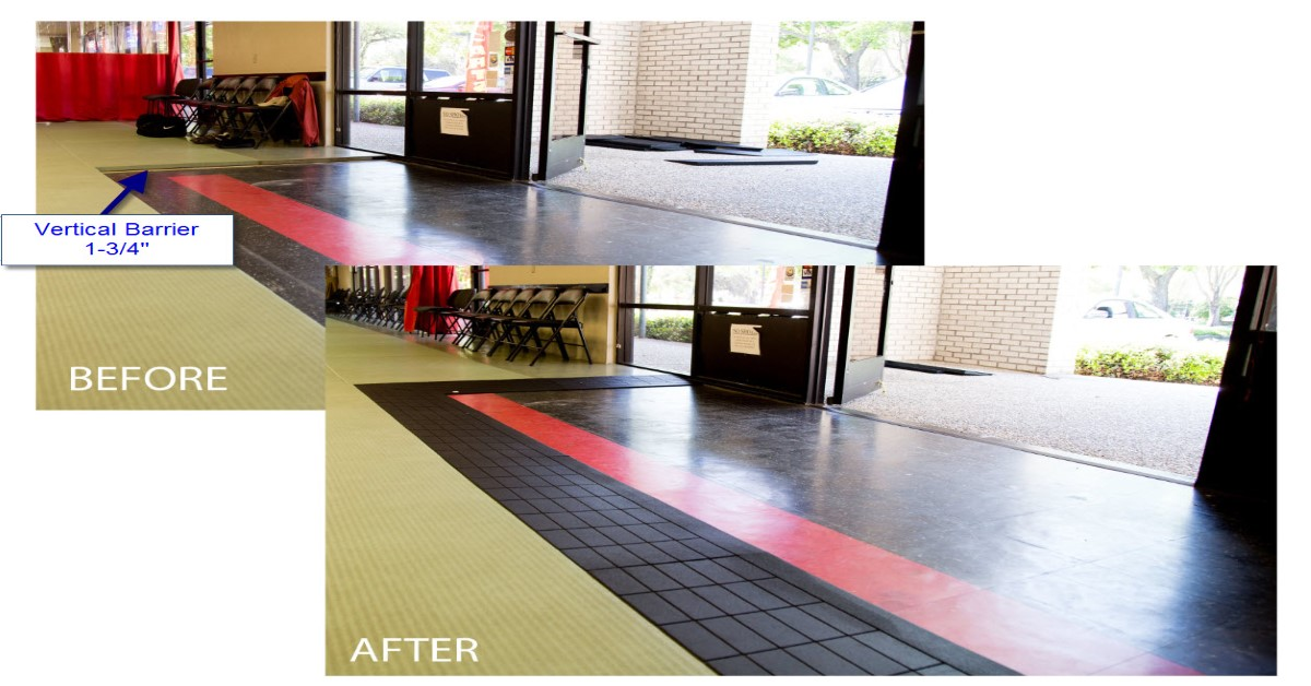 Gym mats with ramps that reduce the vertical barrier to make them ADA compliant